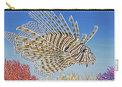 Carry-all Pouch featuring the painting Lionfish And Coral by Jane Girardot
