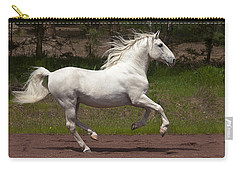 Carry-all Pouch featuring the photograph Lipizzan At Liberty D5809 by Wes and Dotty Weber