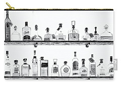 Liquor Bottles - Black And White Carry-all Pouch