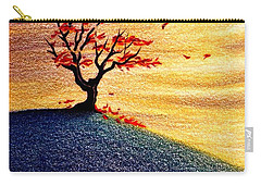 Carry-all Pouch featuring the drawing Little Autumn Tree by Danielle R T Haney