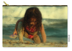 Carry-all Pouch featuring the photograph Little Girl At The Beach by Lydia Holly