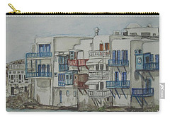 Carry-all Pouch featuring the painting Little Venice Mykonos Greece by Malinda  Prudhomme