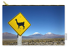 Llamas Crossing Sign Carry-all Pouch by James Brunker