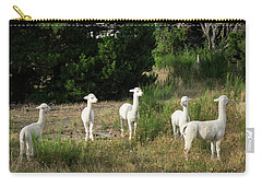 Llamas Standing In A Forest Carry-all Pouch by Panoramic Images