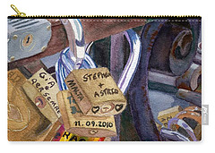 Carry-all Pouch featuring the painting Locks Of Luck by Lynne Reichhart
