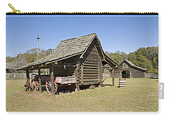 Carry-all Pouch featuring the photograph Log Cabin And Barn by Charles Beeler