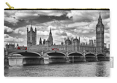 London - Houses Of Parliament And Red Buses Carry-all Pouch by Melanie Viola