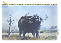 Carry-all Pouch featuring the painting Lone Bull by Anthony Mwangi