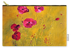 Carry-all Pouch featuring the painting Lonely Poppies by Teresa Wegrzyn
