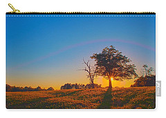 Carry-all Pouch featuring the photograph Lonely Tree On Farmland At Sunset by Alex Grichenko