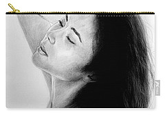 Carry-all Pouch featuring the mixed media Long Haired Asian Beauty by Jim Fitzpatrick