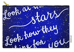 Look At The Stars Quote Painting Carry-all Pouch by Michelle Eshleman