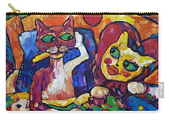 Carry-all Pouch featuring the painting Looking Swell Cats by Dianne  Connolly