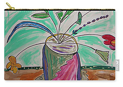 Carry-all Pouch featuring the painting Loose Flowers In A Vase by Mary Carol Williams