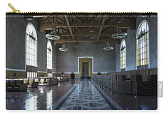 Carry-all Pouch featuring the photograph Los Angeles Union Station Original Ticket Lobby by Belinda Greb