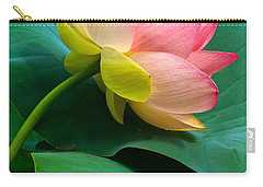 Lotus Blossom And Leaves Carry-all Pouch by Byron Varvarigos