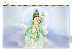 Carry-all Pouch featuring the photograph Lotus-holding Kuan Yin by Lanjee Chee