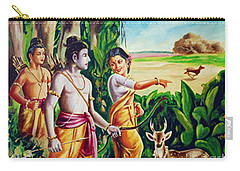 Carry-all Pouch featuring the painting Love And Valour- Ramayana- The Divine Saga by Ragunath Venkatraman