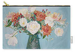 Love Bouquet In White And Orange Carry-all Pouch by Asha Carolyn Young