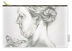 Carry-all Pouch featuring the drawing Loves- Her Butterflies by Teresa White