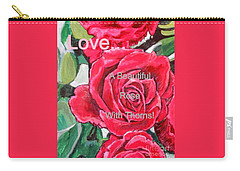 Carry-all Pouch featuring the painting Love... A Beautiful Rose With Thorns by Kimberlee Baxter