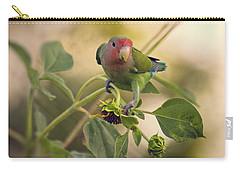 Lovebird On  Sunflower Branch  Carry-all Pouch