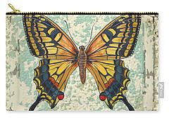 Lovely Yellow Butterfly On Tin Tile Carry-all Pouch