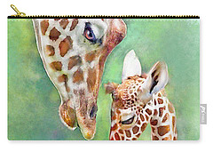 Carry-all Pouch featuring the digital art Loving Mother Giraffe2 by Jane Schnetlage