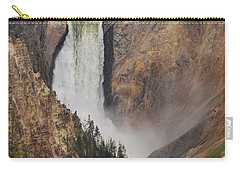 Carry-all Pouch featuring the photograph Lower Falls - Yellowstone by Mary Carol Story