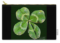Carry-all Pouch featuring the painting Lucky Four Leaf Clover by Dragica  Micki Fortuna