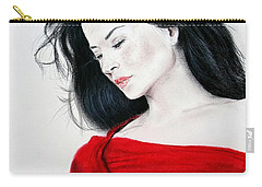 Carry-all Pouch featuring the mixed media Lucy Liu The Lady In Red by Jim Fitzpatrick