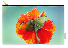Luna Moth On Poppy Aqua Back Ground Carry-all Pouch