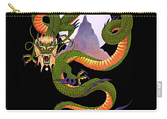 Lunar Chinese Dragon On Black Carry-all Pouch by Melissa A Benson