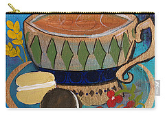 Carry-all Pouch featuring the painting Macaroons And Tea by Robin Maria Pedrero