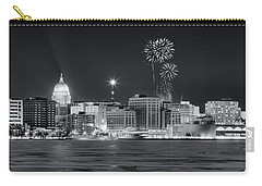 Madison - Wisconsin -  New Years Eve Panorama Black And White Carry-all Pouch by Steven Ralser