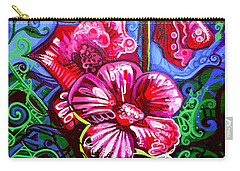 Magenta Fleur Symphonic Zoo I Carry-all Pouch by Genevieve Esson