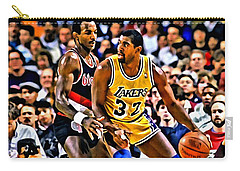 Magic Johnson Vs Clyde Drexler Carry-all Pouch by Florian Rodarte