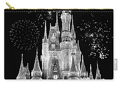 Magic Kingdom Castle In Black And White With Fireworks Walt Disney World Carry-all Pouch by Thomas Woolworth