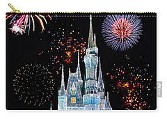 Magic Kingdom Castle In Frosty Light Blue With Fireworks 06 Carry-all Pouch
