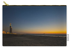 Carry-all Pouch featuring the photograph magical sunset moments at Caesarea  by Ron Shoshani