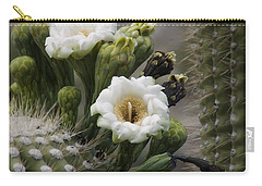 Carry-all Pouch featuring the photograph Magnificant Bloom Of The Saguaro by Lucinda Walter