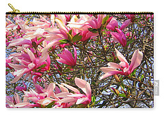 Carry-all Pouch featuring the photograph Blooming Pink Magnolias by Dora Sofia Caputo Photographic Art and Design