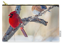 Male Bluebird And Cardinal On Branch Carry-all Pouch