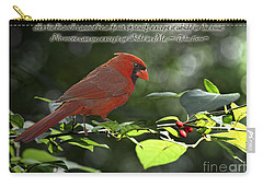 Male Cardinal On Dogwood Branch With Verse Carry-all Pouch by Debbie Portwood