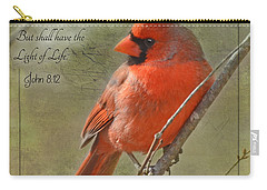Male Cardinal On Twigs With Bible Verse Carry-all Pouch by Debbie Portwood