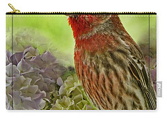 Carry-all Pouch featuring the photograph Male Finch In Hydrangesa by Debbie Portwood