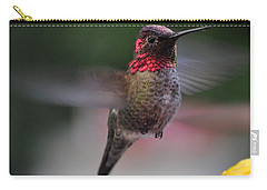 Male Hummingbird Anna In Flight Carry-all Pouch
