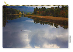 Carry-all Pouch featuring the photograph Mallard Duck On Lake In Adirondack Mountains In Autumn by Jerry Cowart