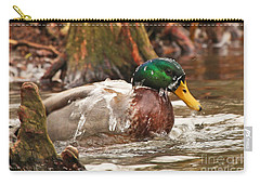 Mallard Duck Taking Bath Carry-all Pouch