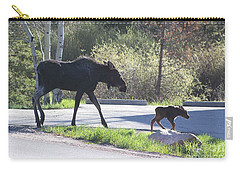 Mama And Baby Moose Carry-all Pouch by Fiona Kennard